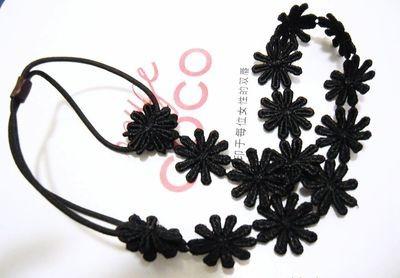 Sunflowers lace elastic headband