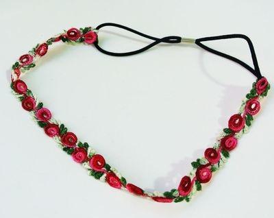 Lace rose flower elastic headband