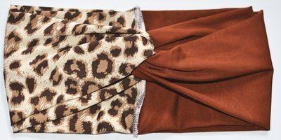 Brown leopard mix turban headband