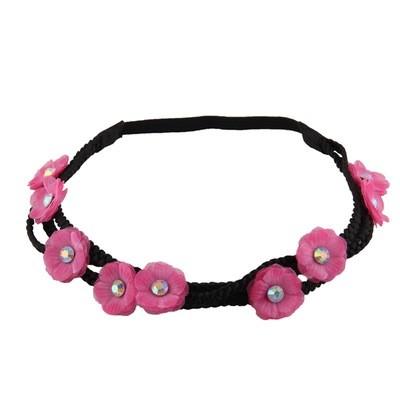 3-layer chiffon flower wreath elastic headband