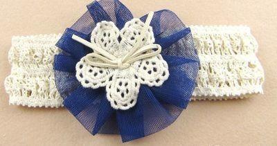 Organza large flower lace stretch headband