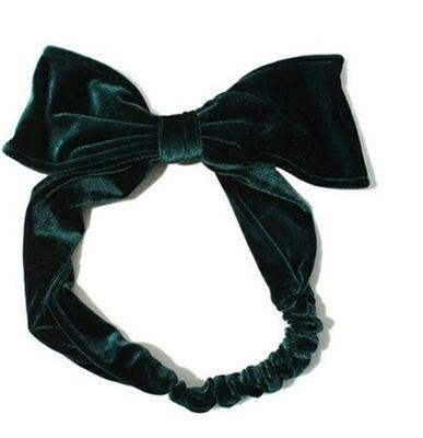 Large velvet bow-tie headband