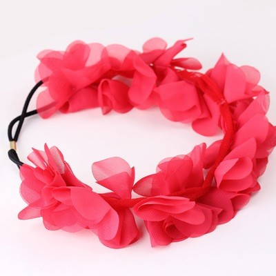 Chiffon flower wreath headband