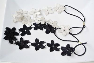 Silver black lace flowers elastic headband