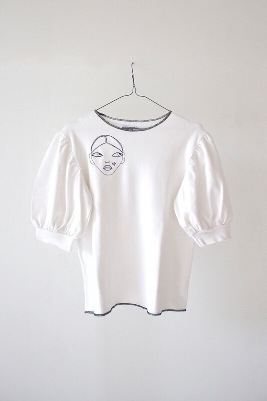 JERSEY T-SHIRT WITH EMBROIDERY AND BALOON SLEEVE - Where I Go You Follow Me Collection