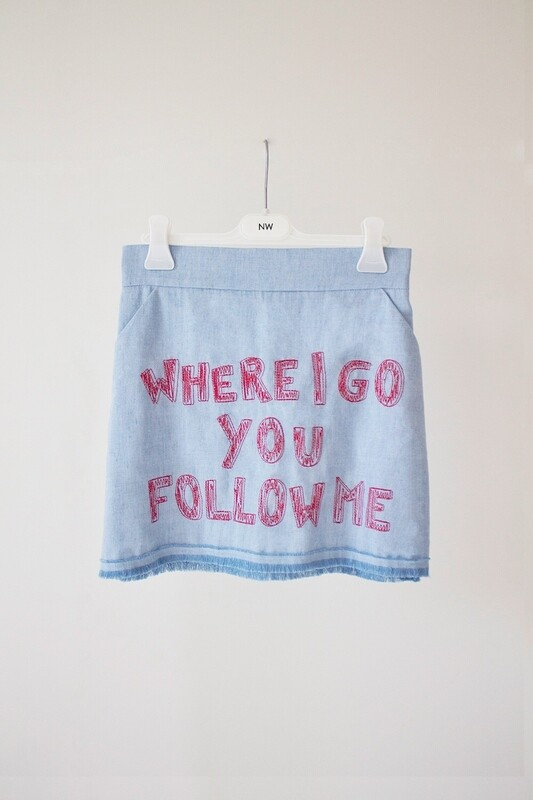 DENIM LINEN MINI SKIRT - Where I Go You Follow Me Collection