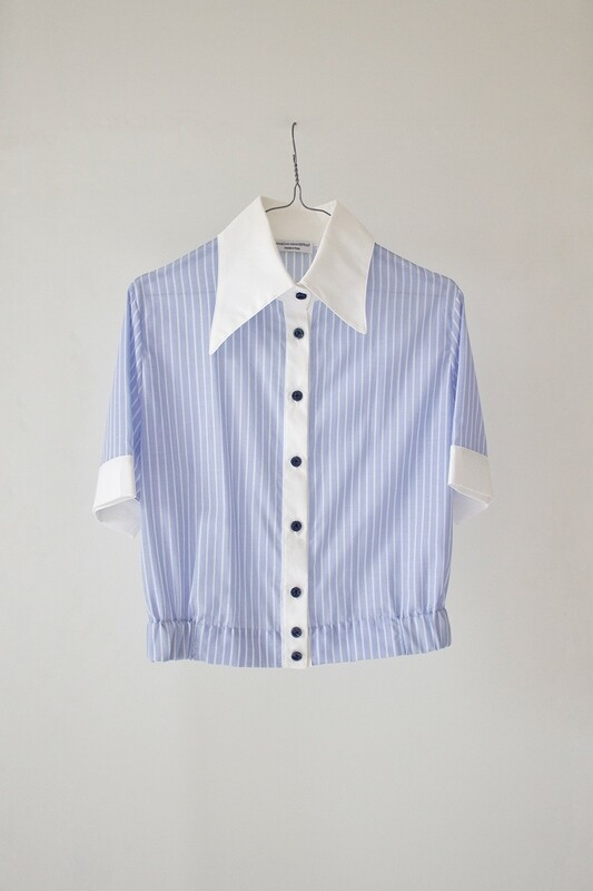 STRIPED COTTON SHIRT WITH ASYMMETRICAL COLLAR - Where I Go You Follow Me Collection