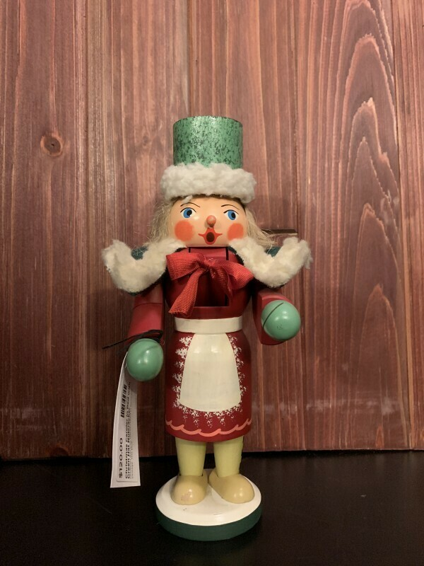 Christmas Caroler in Red with Green Hat Nutcracker
