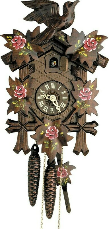 1-Day Carved Pink Flowers Cuckoo Clock