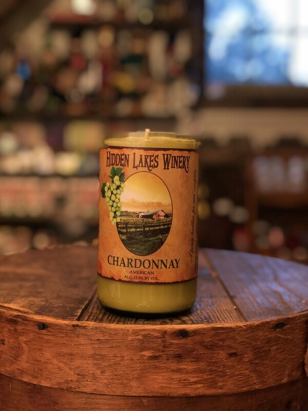 HiddenLakes Winery Recycled Bottle Candle