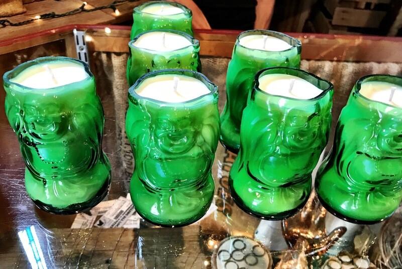 Custom Lucky Buddha Beer Bottle Candle
