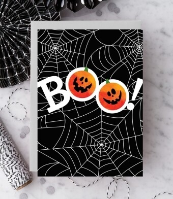 Boo! Spiderweb Halloween Card