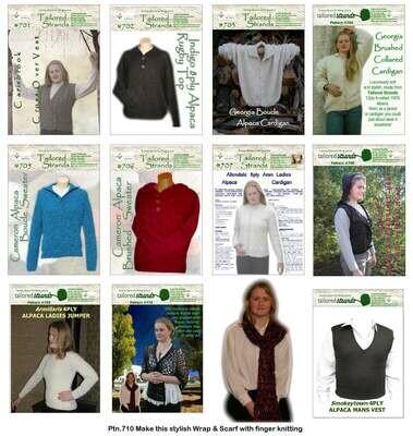 Tailored Strands Designer Patterns 12ply Brushed:- No.704 Brushed Collared Cardi & No.706 Brushed Collared Sweater