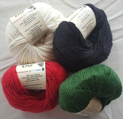 8ply SURI SILK superb baby suri (alpaca), lustrous fine finnsheep, silk blend  - ivory, ebony, deep coral red, emerald green in 50g balls AU$11.95 each