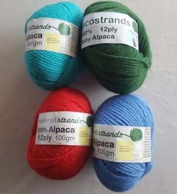 SUPER SPECIAL AU$15.00 12ply 100% Australian baby alpaca 100gram balls  normally AU$22.95/100g each - seachange, bright rufous red, ocean blue.  Limited stock left.  Emerald 12ply sold out.