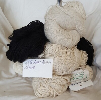 250 gram Hanks 100% Australian baby alpaca yarns - 8ply or 4ply - natural or black - ideal for dyeing or join-free crochet!
