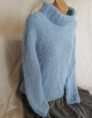 SUPER SPECIAL Australian made beautifully textured cowl neck jumper. At 515 grams that's 11 x 50g balls of boucle ($127.05 just for the wool!!!) Sized as casual look M or snug fit L for ladies.