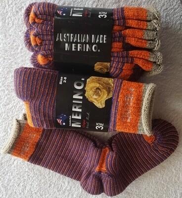 3pair packs Orange/blue Merino Socks (ladies size 2-8)- made in Australia, from Australian merino sheep fibre.