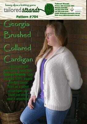 Tailored Strands Designer Patterns 12ply Brushed:- No.704 Brushed Collared Cardi & No.706 Brushed Collared Sweater