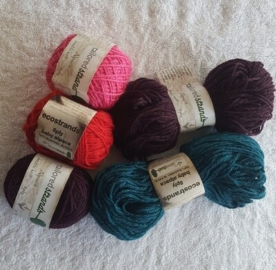 SUPER SPECIAL JULY AU$6.50 8ply 100% Australian Alpaca fashion colours in 50g balls or 50g hanks normally AU$11.55/50g each - handwound or hanks - scarlet, emerald green, bilberry, hotpink,or teal.