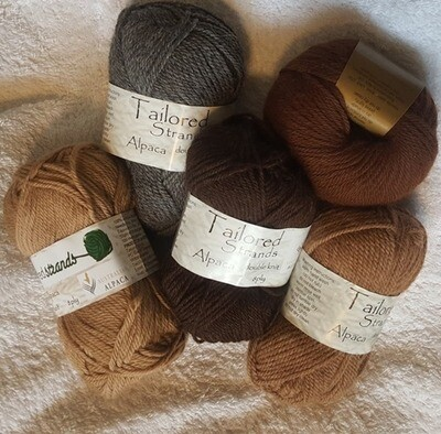 SUPER SPECIAL JUNE AU$6.50 each 8ply Tailored Strands 100% Australian Alpaca naturals in 50g balls, normally AU$11.55/50g - midgrey, mocha brown & redwood