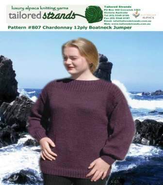 Tailored Strands Designer Patterns 12ply No.807 12ply Chardonnay Ladies Boatneck Jumper