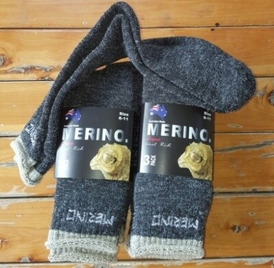 3pair packs dark grey colour Merino Socks - made in Australia, from Australian merino sheep fibre.