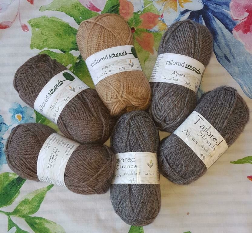 SUPER SPECIAL JULY AU$6.50 8ply Tailored Strands 100% Australian Alpaca 50g balls, normally AU$11.95/50g - Sienna Rose, Smoky Rose & MidGrey. End of batch-last balls. Cashew sold out.