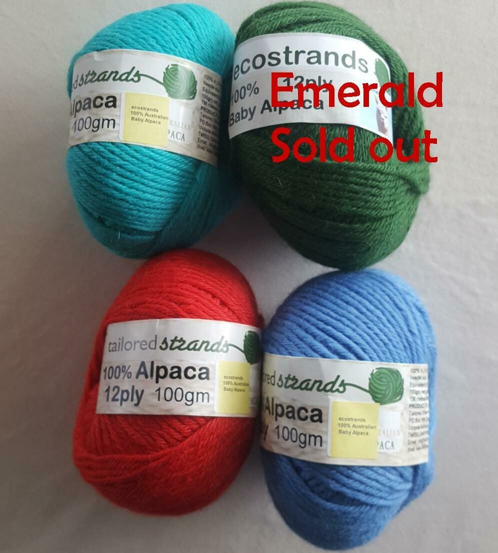 SUPER SPECIAL JULY AU$15.00 12ply 100% Australian baby alpaca 100gram balls  normally AU$23.90/100g each - seachange, emerald, rufous red, ocean blue.  Limited stock left.