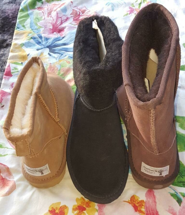SUPER SPECIAL $39.90 UGG BOOTS in Fawn, Brown & Black.  Australian sheep wool lining, leather upper, rubber soles.
