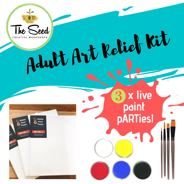Adult Art Relief Kit - 3 live paint pARTies! + materials