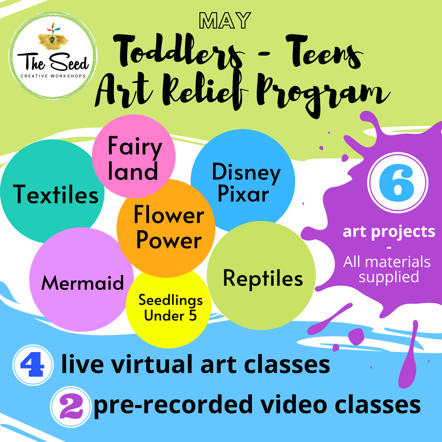 Toddlers - Teens Art Relief Program MAY 2020