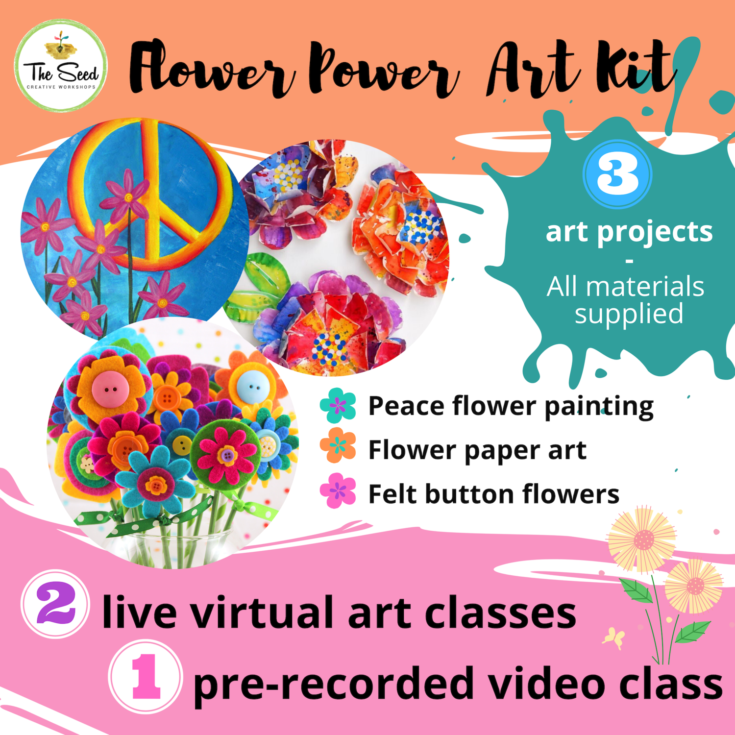 Flower Power Art Relief Kit - live classes + all materials