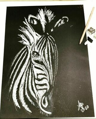 Learn to draw a charcoal animal portrait! Video class + materials