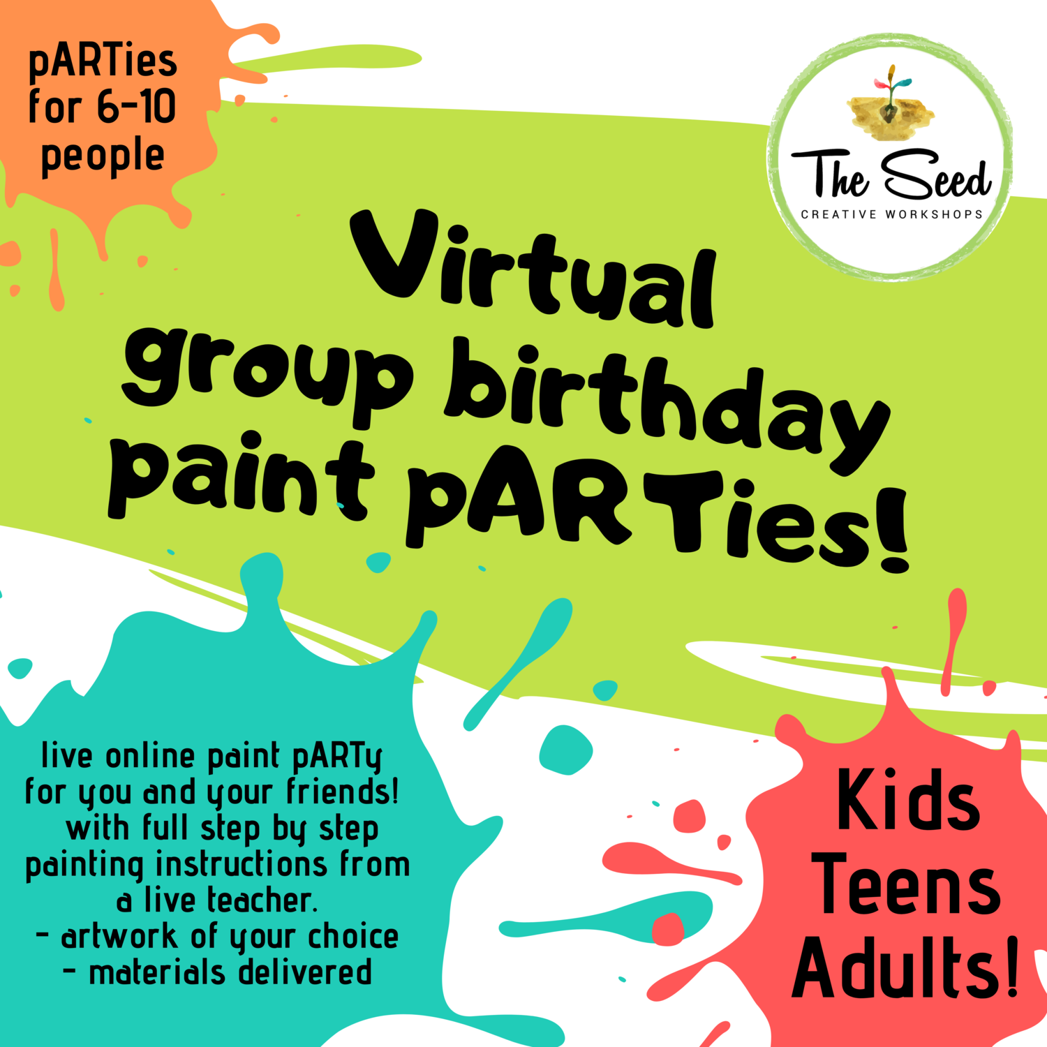 Virtual private paint pARTy! 6 people party pack