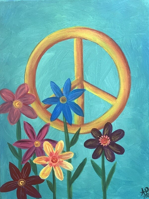 Digital painting class - Peace flowers