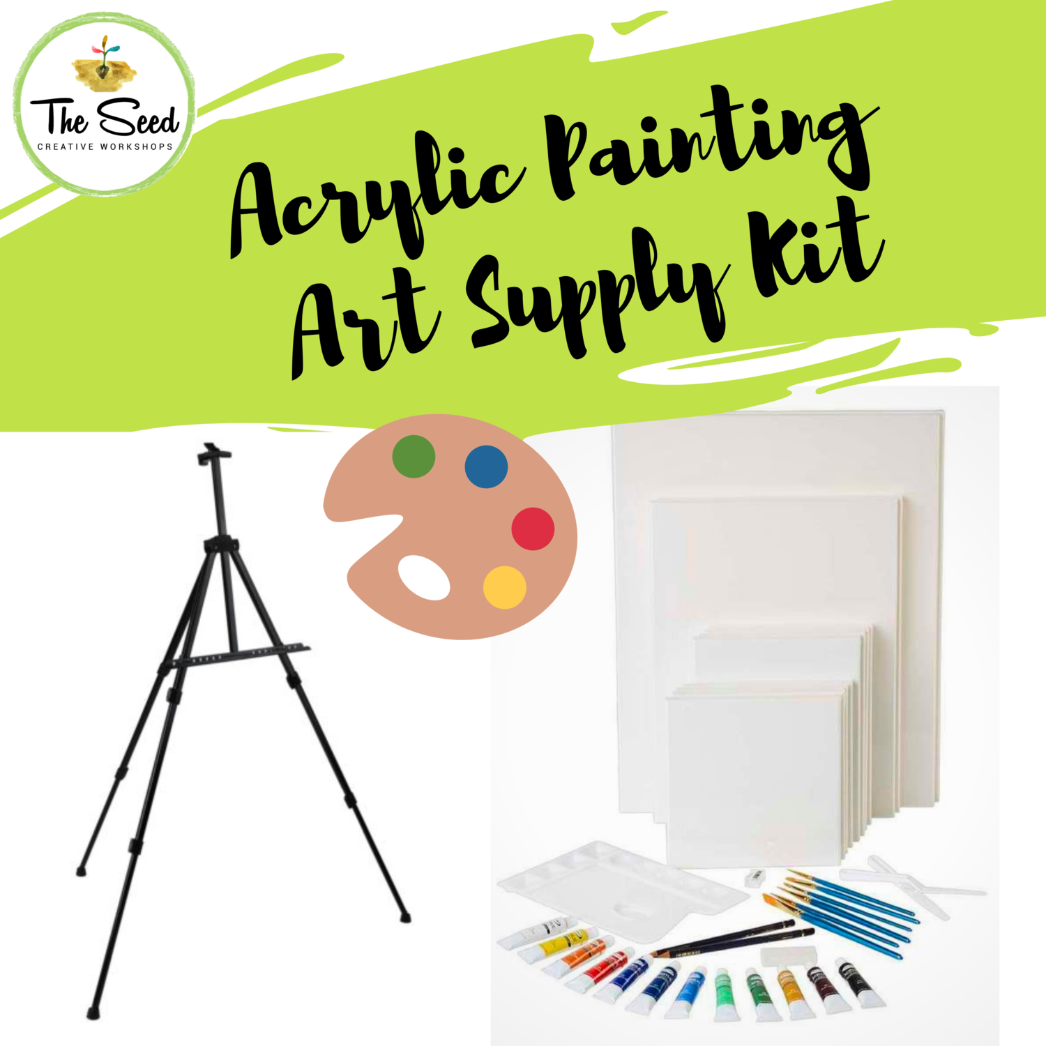 Acrylic painting Art Supply Kit with portable easel