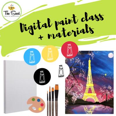 Eiffel Tower Digital painting class - materials + video + written instructions