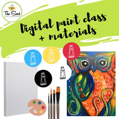 Owl Digital painting class + materials