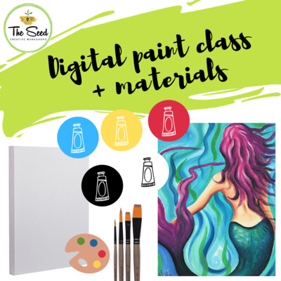 Mermaid Digital painting class - Materials + video + written instructions!