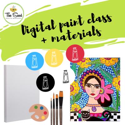 Patterned Frida Digital painting class  + materials