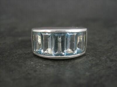 Sterling 5 Carat Blue Topaz Ring Size 7