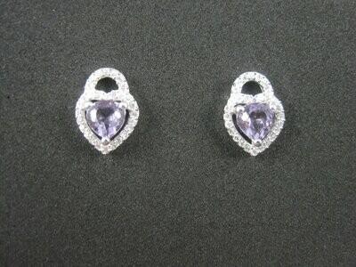 Sterling Amethyst Heart Stud Earrings