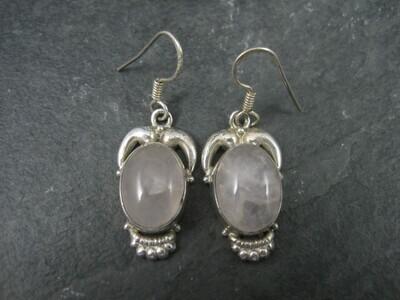 Sterling Rose Quartz Earrings