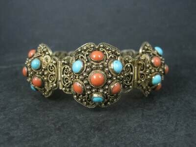 Antique Cannetille Turquoise Coral Bracelet 6.5 Inches Chinese Export