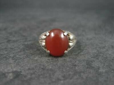 Vintage Sterling Carnelian Leaf Ring Size 7