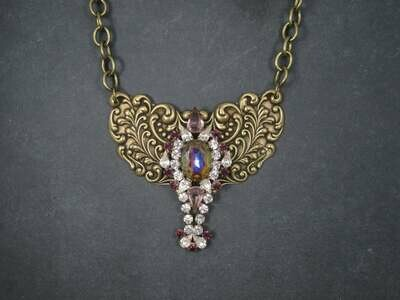 Brass Rhinestone Runway Bib Necklace