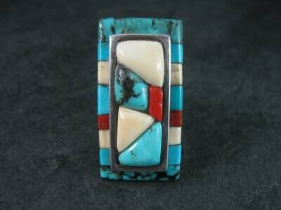 Navajo Cobblestone Turquoise Coral Inlay Ring Size 6.5