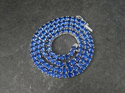 Custom Sterling 31.5 Carat Blue Topaz Necklace 18 Inches