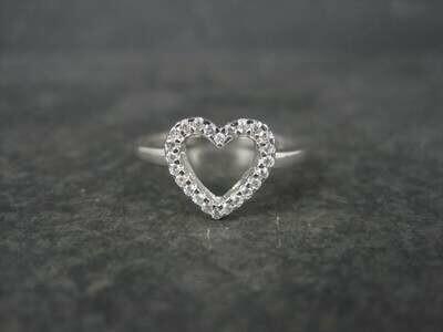 Dainty Sterling Diamond Heart Ring size 7